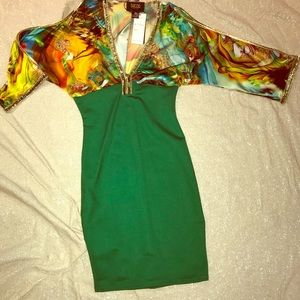 Slinky Tropical Green Cocktail Dress